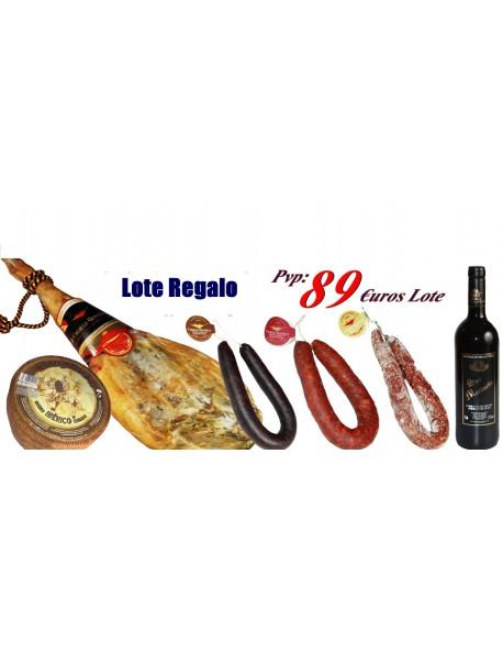 Jamón Bodega Reserva con Lote de Embutidos + Queso Iberico +Botella vino en barrica