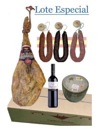 Lote de navidad con jamon, embutido, queso y vino