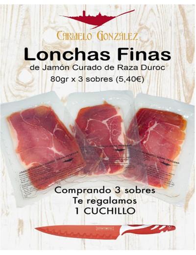 PACK DE 3 SOBRES DE JAMÓN CURADO DE 80 GR + CUCHILLO
