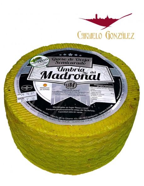 Queso de Oveja semicurado al Pesto fabricado por Umbría del Madroñal, Sonseca Toledo