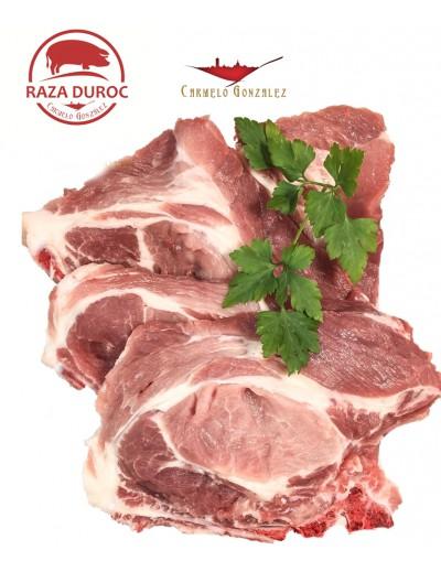comprar en carnicería con servicio a domicilio chuletas de aguja cerdo duroc frescas tiernas y muy gustosas carmelo gonzalez ven