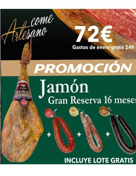 JAMON CURADO GRAN RESERVA DUROC MAS DE 16 MESES DE CURACIÓN CON LOTE DE 3 EMBUTIDOS GRATIS¡¡¡¡