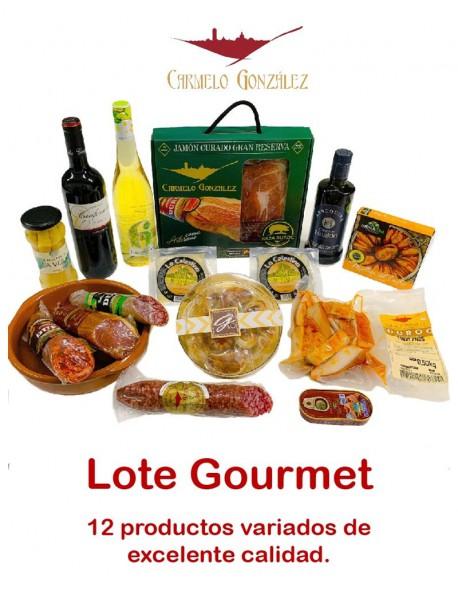comprar Lote Gourmet - cesta de navidad Charcutería 1 Pack de 12 sobres al vacío de 80gr. de Jamón curado Gran Reserva de Raza