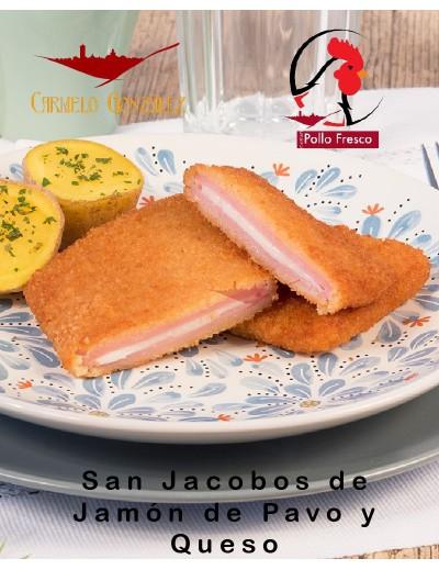 San Jacobos de pollo. Fiambre de calidad con carne de pollo y pavo relleno con queso y empanado.