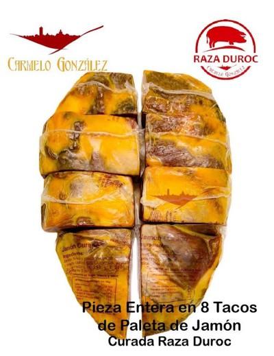 Jamón de Paleta curado de Hembra de Raza Duroc. CORTADA EN 8 TACOS AL VACIO DE FACIL CONSUMO Curación mínima de 9 meses.